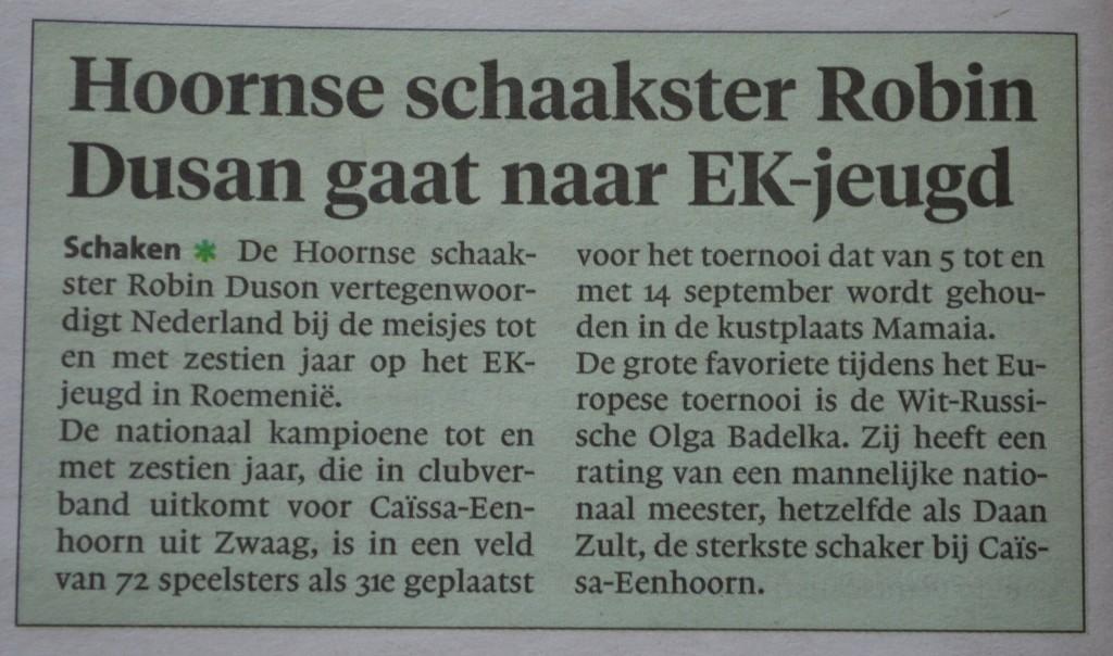 Uit het Dagblad voor West-Friesland van maandag 21 augustus 2017.